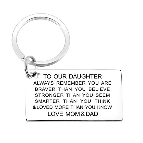 Daughter Keychain Birthday Gifts from Mom Dad Inspirational...