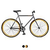 Retrospec Harper Single-Speed Fixie Style Urban Commuter Bike with Coaster Brake, Graphite & Orange 43cm, XS