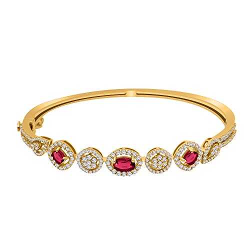 omega jewellery 1.08CT Diamond & Ruby Diamond Bangle in 14K Gold Over Best Suited for Parties (yellow-gold-plated-silver) (Jewellery)