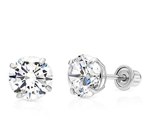 14k White Gold Solitaire Cubic Zirconia CZ Stud Earrings with Secure Screw-backs (6mm)