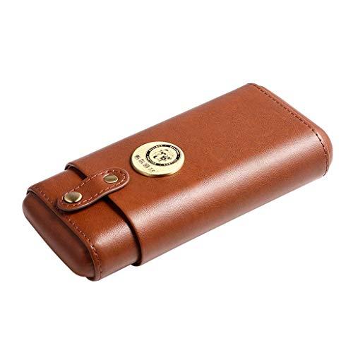 Ljf Boîte à cigares Tube de Cigare hydratant étui en Cuir de Cigare Voyage humidificateur portatif Feuille de Protection en Bois de cèdre (Color : Brown, Size : 17 * 8.7 * 3.7CM)