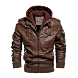 God's pens Men's Warm PU Faux Leather Zip-Up Motorcycle Jacket Bomber Jackets with a Removable Hood Brown