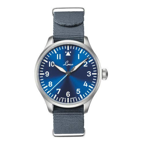 Laco Fliegeruhr Basis Augsburg Blaue Stunde, Ø 42mm, hochwertige Automatikuhr, Armbanduhr, Einzigartige Qualität, 5 ATM Wasserdicht, Zeitloses Design – seit 1925 (Silber)