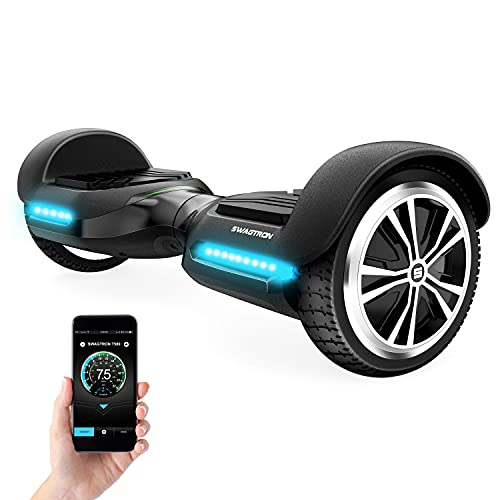 Swagtron T580 App-Enabled Bluetooth Hoverboard with Speaker, Smart Self-Balancing Wheel, Black