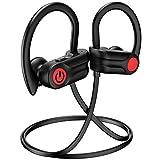 Bluetooth Headphones, 12Hrs & Bluetooth 5.0 Wireless Sport Earphones, IPX7 Waterproof Running Headphones w/CVC 6.0 Noise Cancelling Mic, for Running, Gym, Black