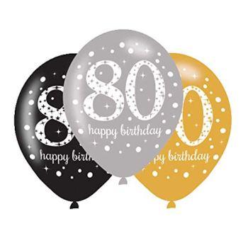 amscan 10022464 Assorted 80th Birthday Latex Balloon Decoration-6 Pcs, 80