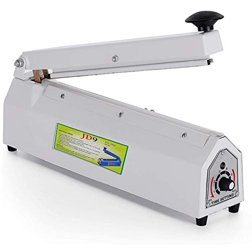 JD9 12 inches Premium Range Metal Heavy Duty Heat Sealer Machine, Heat Sealer for Plastic Bag 12' inch, Impulse Sealer, Impulse Sealer Machine, Packing Machine (Off- White).