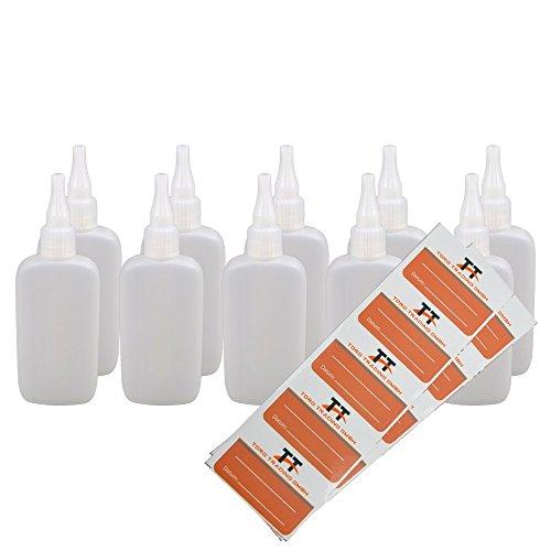 Bottiglie ovali per liquidi 10 x 100 ml  Fiaschetta in plastica morbida PE con 10 etichette (bianco/trasparente)  Bottiglia liquida  Bottiglie contagocce bottiglie, bottiglie dosatrici