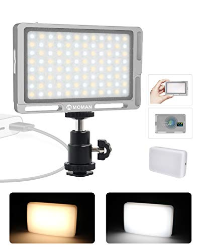 Moman Faretto-LED-Video-Luce-Reflex con Diffusore, Fillipo LED Fotocamera DSLR 4.7 147g Dimmerabile Bi-Color 3000K- 6500K, TLCI/CRI 96+, Cavo di Tipo-C Incluso, Argento