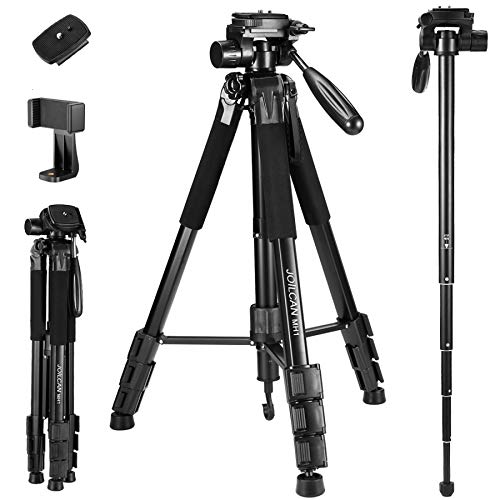 72-Inch Camera/Phone Tripod, Aluminum Tripod Travel Monopod Full Size for DSLR with 2 Quick Release Plates,Universal Phone Mount and Convenient Carrying Case Ideal for Travel and Work - MH1 Black