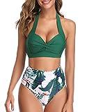 Tempt Me Women's Vintage Swimsuit Retro Halter Ruched High Waist Bikini Green L