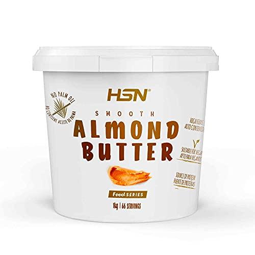 Mantequilla de Almendras de HSN con Textura Cremosa y Suave - 100% Natural - Almond Butter Smooth - Apto Vegetariano - Sin grasa de palma - Sin grasa trans - Sin azúcar ni sal añadidos – 1Kg