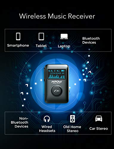 Product Image 6: Mpow Bluetooth Receiver, Bluetooth 5.0 Receiver with Display Screen, Bluetooth Aux Adapter with Noise Cancellation, 3D Surround Sound for Car Stereo