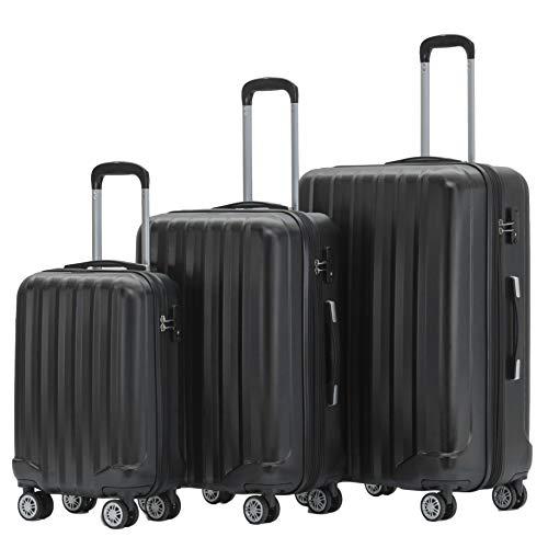 BEIBYE TSA-Schloß 2080 Zwillingsrollen 3 TLG. Reisekofferset Koffer Kofferset Trolley Trolleys Hartschale (Schwarz)