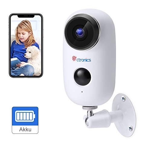[1080P] Telecamera di Video Sorveglianza Batteria Ricaricabile, Ctronics Wifi Senza Fili Telecamera IP con Sensore di Movimento PIR, Audio Bidirezionale a 2 Vie, Visione Notturna IR ed Impermeabile