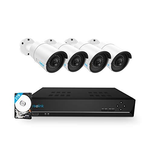 Reolink 8CH 5MP Kit Videosorveglianza di Sicurezza con 4x 5MP PoE Impermeabile Bullet Video IP Cameras e 8CH NVR 2TB HDD di Sorveglianza per Casa, Ufficio, Progetti, RLK8-410B4-5MP
