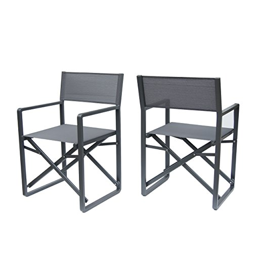 Christopher Knight Home 304604 Teresa | Outdoor Mesh and Aluminum Director Chairs | Set of 2 Dark Grey