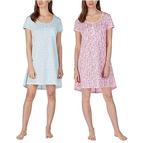 Jane & Bleecker Henley Sleepshirt para mujer, paquete de 2