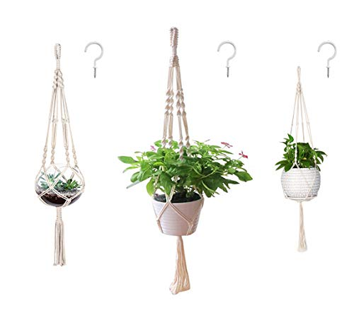 AOMGD 3 Pack Macrame Plant Hanger and 3 PCS Hooks Indoor Outdoor...