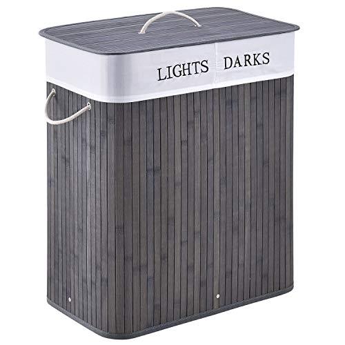 Juskys Bambus Wäschekorb Curly – 100 Liter Wäschesammler mit Deckel, Griff & Stoff Wäschesack – 2 Fächer Wäschesortierer – Wäschebox in Grau