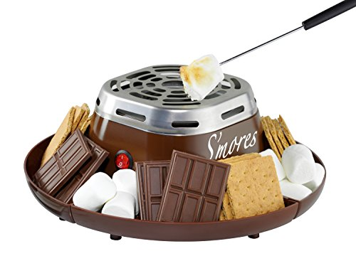 Nostalgia SMM200 Indoor Electric Stainless Steel S'mores Maker with 4 Compartment Trays for Graham Crackers, Chocolate, Marshmallows and 2 Roasting Forks,Brown