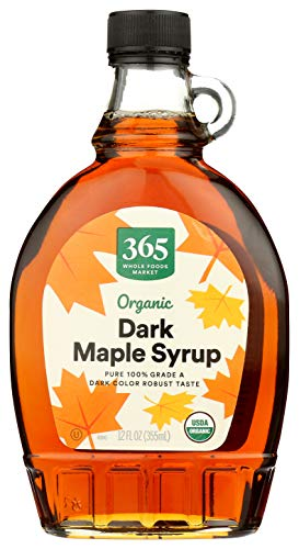 365 Whole Foods Market, Organic Pure 100% Grade A Maple Syrup, Dark Color Robust Taste, 12 Fl Oz (Packaging May Vary)