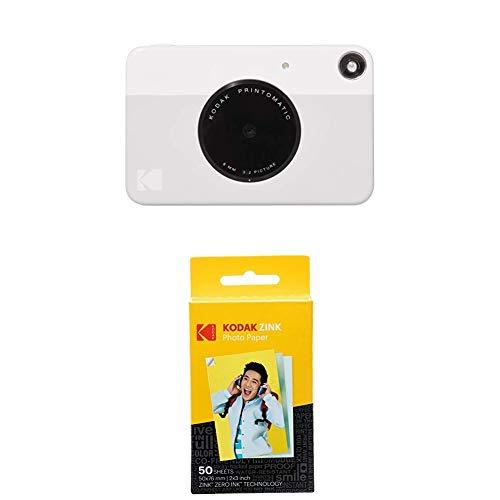Kodak PRINTOMATIC Digital Instant Print Camera (Grey) with Kodak 2ʺx3ʺ Premium ZINK Photo Paper (50 Sheets)