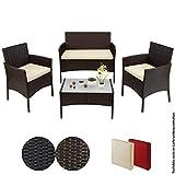 BB Sport 7-teilige Polyrattan Sitzgruppe für 4 Personen inkl. Sitzpolster und Tisch Balkonmöbel Set Sitzgarnitur