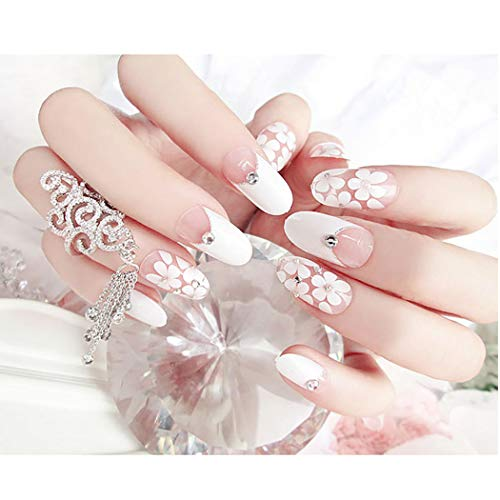 Fstrend False Nails Bling Rhinestone Flower Nail Tips Fake Nails Wedding Birthday Party Acrylic Nails for Women and Girls