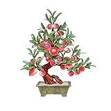 ROM rbol de bonsi Artificial rbol de bonsi Artificial - Decoracin de bonsi de Jade Plantas de casa Artificiales Jade Shou Planta de bonsi de melocotn para decoracin
