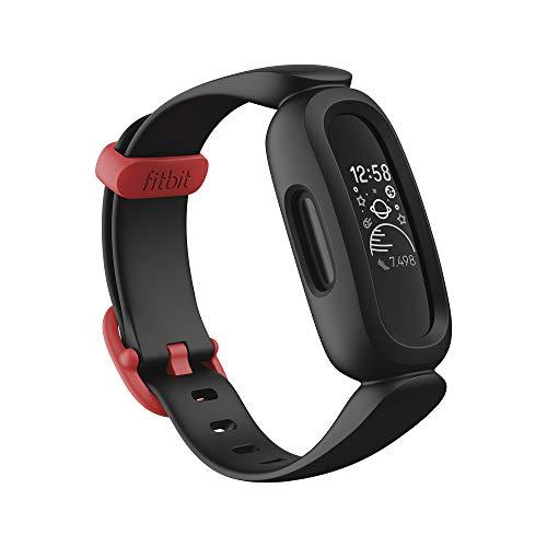 Fitbit Ace 3 pulsera de actividad para niños de +6 años con divertidos formatos de reloj animados, Resistente al agua hasta 50 m y hasta 8 días de batería, Negro/Rojo deportivo