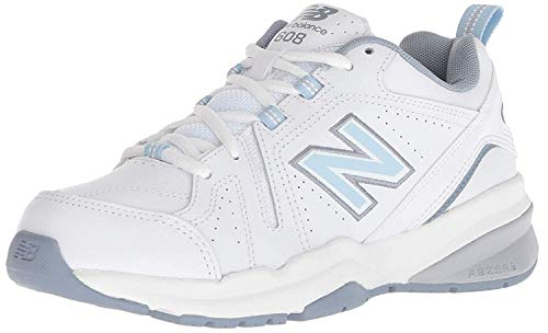 New Balance Women's 608 V5 Casual Comfort Cross Trainer, White/Light Blue, 9.5 W US