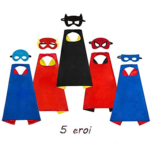 AYUTOY Costumi da Supereroi per Bambini-Regali di compleanno - Costumi Carnevale Mantelli e Maschere Giocattoli per Bambini e Bambine-5 Mantelli e 5 Maschere