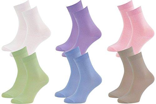 Rainbow Socks - Donna Uomo Colorate Calze di Bamb - 6 Paia - Bianco rosa Porpora Blu Pistacchio Beige - Tamao 36-38