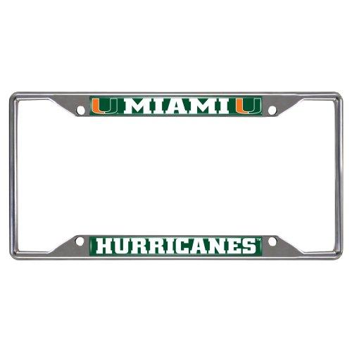 FANMATS 14913 NCAA University of Miami Hurricanes Chrome License Plate Frame,6.25'x12.25'