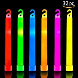 HSGUS 32 Ultra Bright Glow Sticks Plus 32 Party Strings - Bulk Glow Pack Industrial Grade - 6 Inch Waterproof Glow Stick - Glow Light with 12 Hour Duration - Bend, Shake to Activate (Colorful)