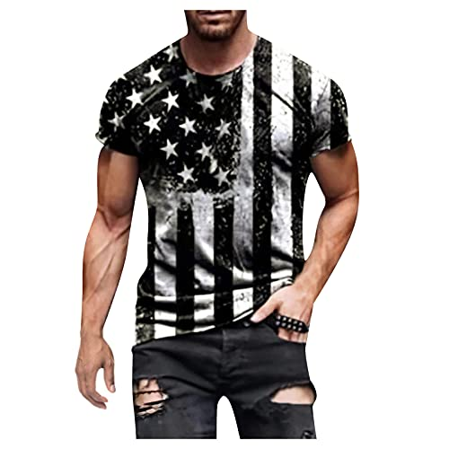 4th of July Patriotic Shirts for Men Fashion Muscle Gym Workout...