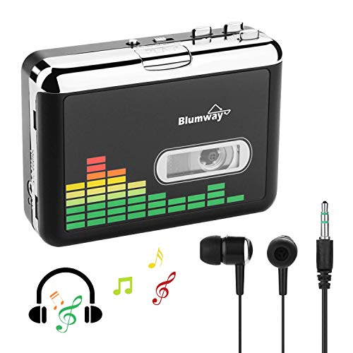 Cassette to MP3 Converter, BlumWay Portable Cassette Recorder Player, Audio Music Cassette Tape to Digital Converter Player with Earphone, No Need Computer