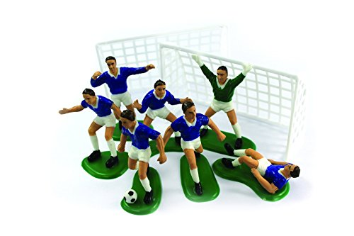 BLUE FOOTBALLERS CAKE DECORATIONS SET