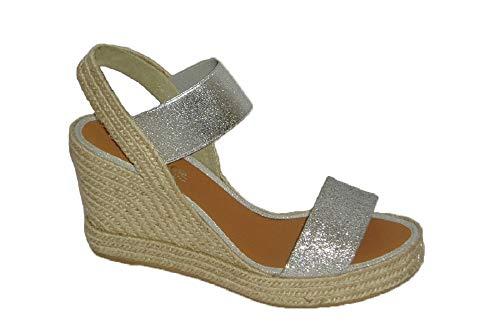 Zapatos Nieves Martn casteller 145, Espadrillas Basse Donna Argento Argento Argento Size: 36 EU