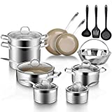 Duxtop 17PC Professional Stainless Steel Induction Cookware Set, Stainless Steel Ceramic Nonstick Pan Set, Impact-bonded Technology, FUSION Titanium Reinforced Ceramic Coating, Brown
