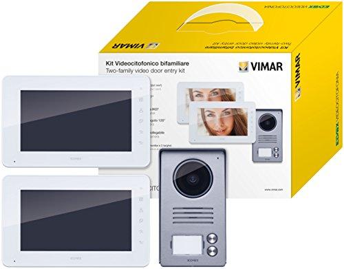 VIMAR K40911 Kit Videocitofono Bifamiliare con Alimentatori Multispina, Bianco/Grigio