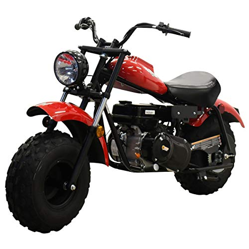 X-PRO Supersized 200CC Youth Mini bike Gas Powered Mini Trail Bike Scooter mini motorcyle,19' Wide Fat Balanced Tires! Big headlight! (Red)