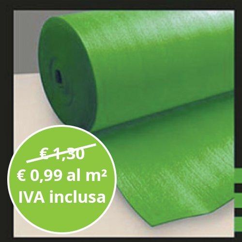 Sottopavimento Verde Isolante 2 mm Bobina da 30 mq per Pavimenti Laminati