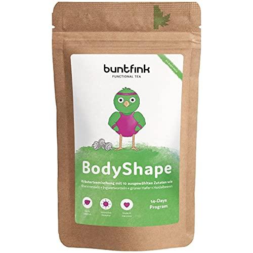 """Buntfink """"BodyShape"""" Tee mit Ingwer + Mate + Brennesseltee + Grüner Hafer, 14-Tage Skinny Programm, 100% natürlicher Kräutertee aus Deutschland, 60g loser Tee"""