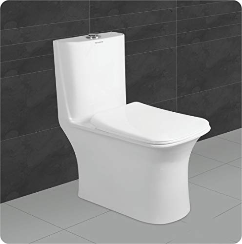 Belmonte Ceramic One Piece Western Toilet/Commode/Water Closet/EWC Crenza S Trap 230mm / 9 Inch with Syphonic Rimless Tornado Flushing (White)