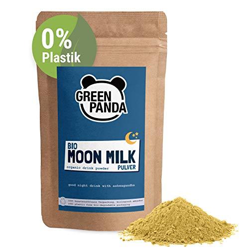 """BIO MOON MILK vegan, Goldene Milch mit Ashwagandha & Kurkuma Pulver, perfekt für Golden Milk & Kurkuma Latte, Gute-Nacht-Trunk mit der """"Schlafbeere"""", biologisch abbaubarer Beutel, 200g von Green Panda"""