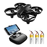 Potensic A20W Mini Drone for Kids and Beginners with Camera, 720P RC FPV Drone, Easy to Fly Portable Quadcopter with Altitude Hold, Headless Mode, Route Settiing, Gravity Sensor, 3 Batteries