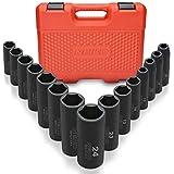 NEIKO 02474A 1/2' Drive Deep Impact Socket Set   15 Piece   Deep Socket Kit   6 Point Metric Sizes (10-24 mm)   Cr-V Steel