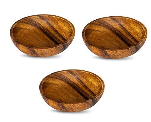 levandeo 3er Set Teller Akazie 10x2,5cm Rund Holz Design Schale Snackschale Dekoteller Unikat...